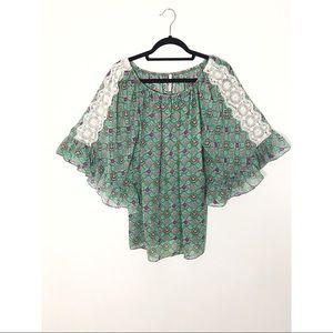 Boho Bell Sleeve Lace Tunic